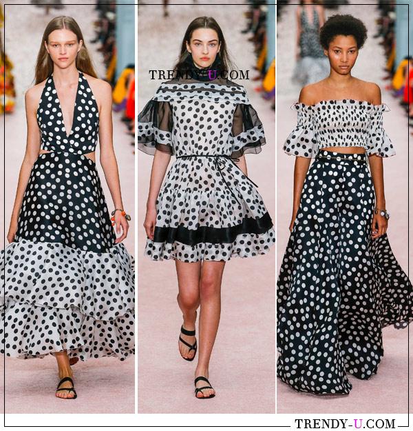 Модные платья, юбка и блузка в горох от Carolina Herrera SS 2019