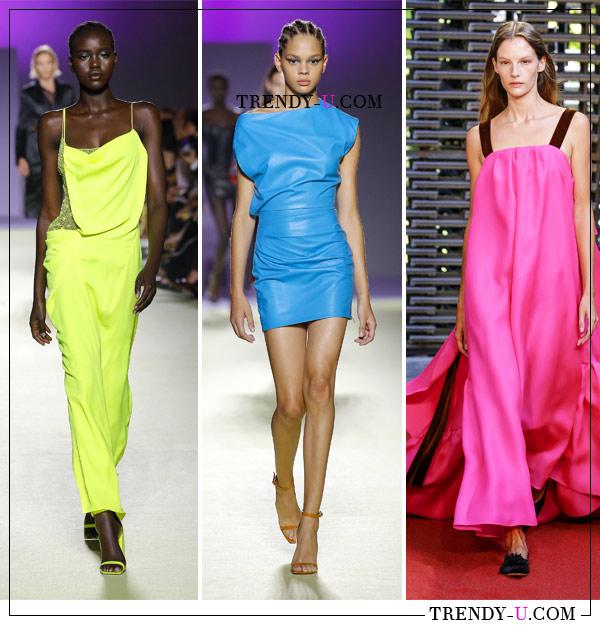 Летние платья ярких цветов из коллекций Versace и Roksanda SS 20129 (справа на фото)