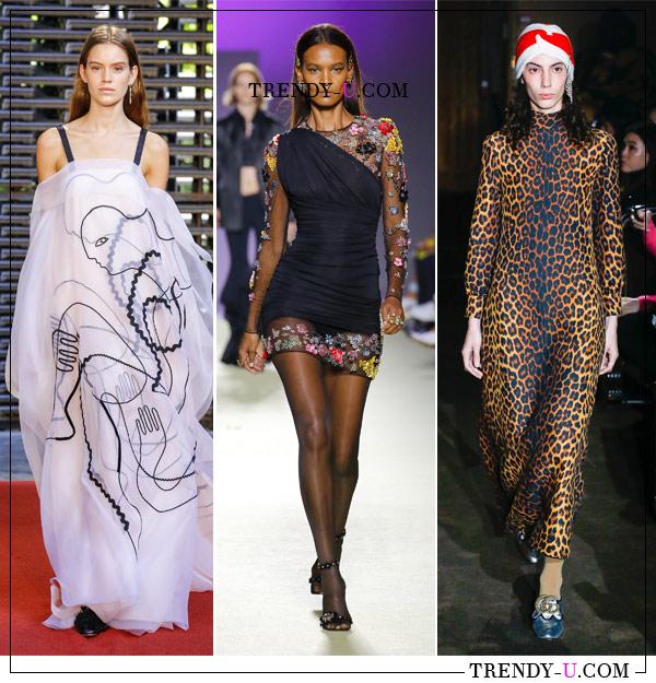 Абстрактный, цветочный и леопардовый принты в коллекциях Roksanda, Versace и Gucci весна-лето 2019