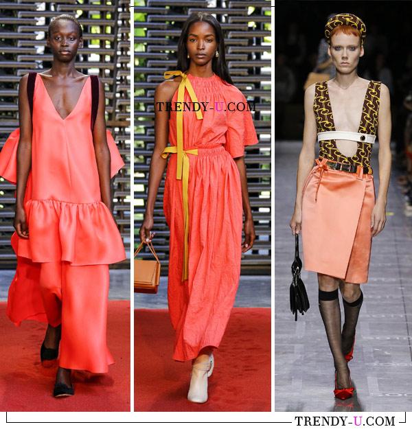 Платья и юбка нежно-кораллового цвета в коллекциях Roksanda и Prada (справа) SS 2019