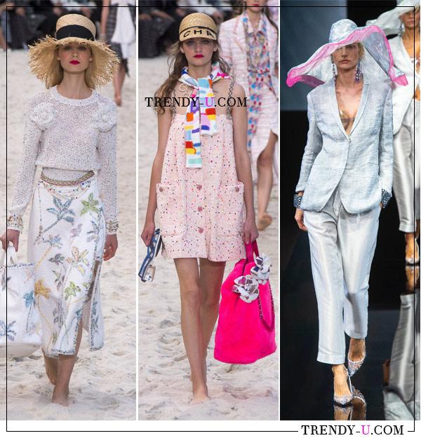 Соломенная шляпа и бейсболка от Chanel, широкополая шляпа от Giorgio Armani весна-лето 2019