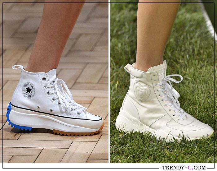 Белые кроссовки из коллекций J W Anderson и Escada весна-лето 2019