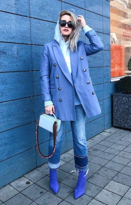 Синие тканевые ботильоны с пиджаком oversize