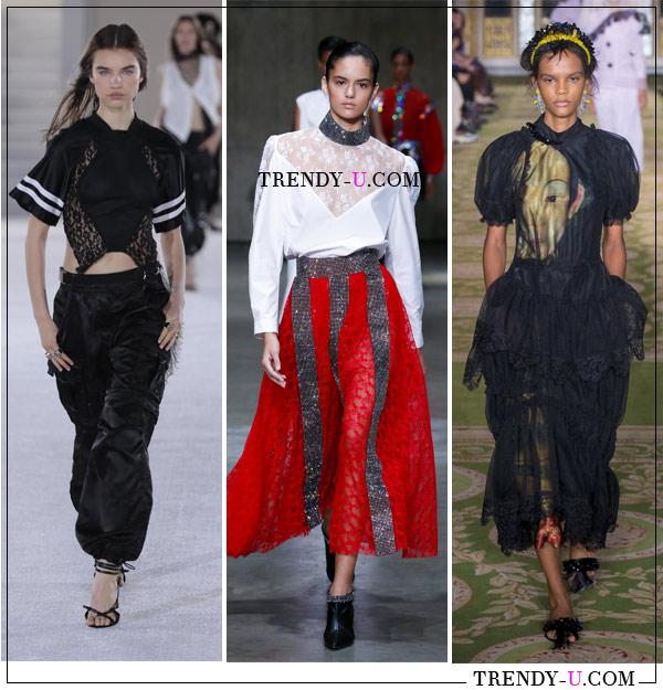 Кружева: модные образы от Alexander Wang, Christopher Kane и Simone Rocha весна-лето 2019