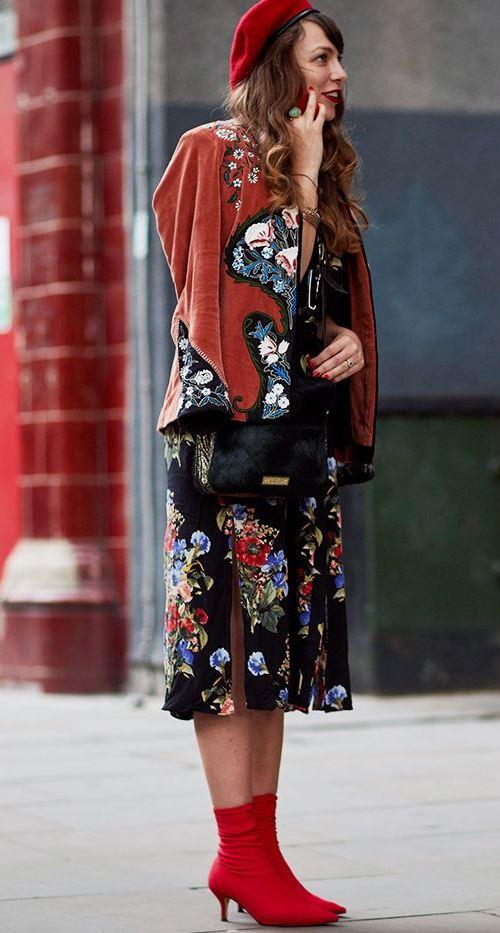 Красные ботильоны носки Zara