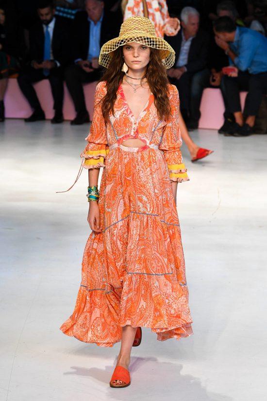 Оранжевое платье макси