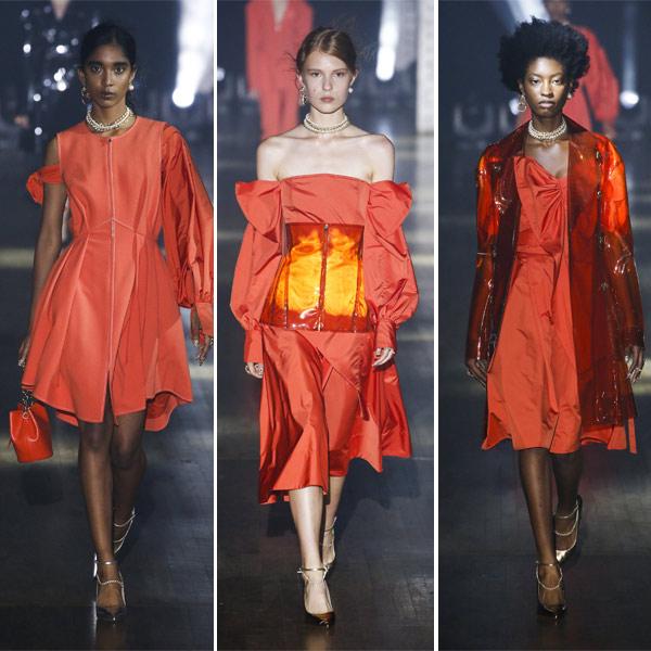 Модные платья из весенне-летней коллекции Adeam нежно-кораллового цвета 2019