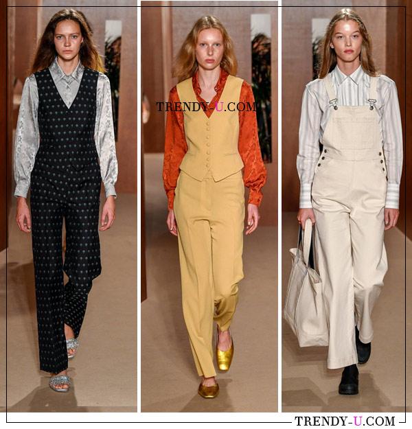 Одежда для офиса от ALEXACHUNG SS 2019: комбинезон с блузкой и брюки в сочетании с жилетами