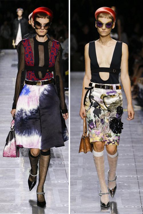 Образ от Prada: юбка в стиле ретро в принтом тай дай в сочетании с топами