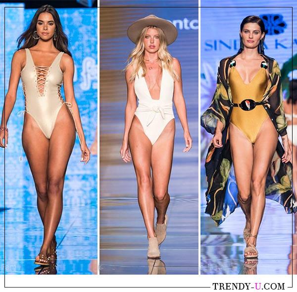 Модные слитные купальники планж от Luli Fama (слева на фото) и Sinesia Karol для лета 2019