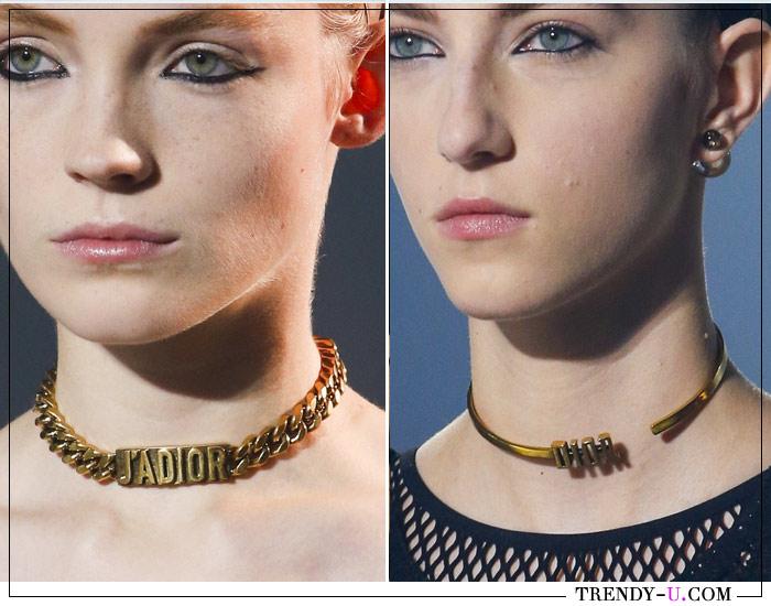 Модные чокеры от Christian Dior с логотипом