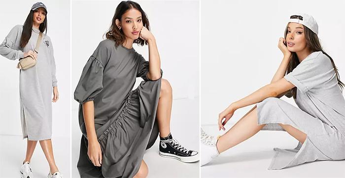 Образы в стиле кэжуал. Серое платье и аксессуары