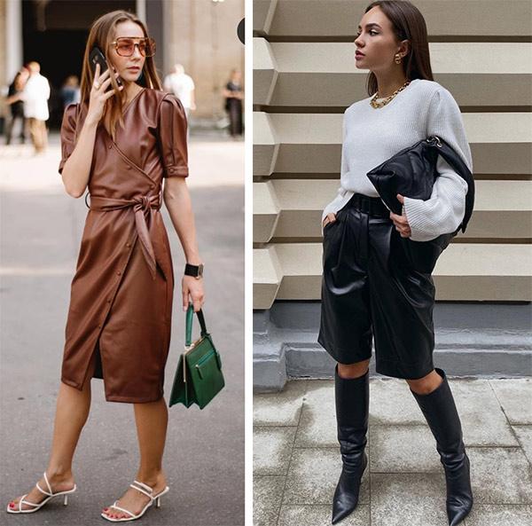 Платье и юбка из кожи для модного образа