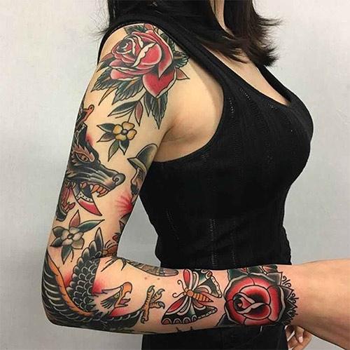 Татуировка в традиционном американском стиле для девушки