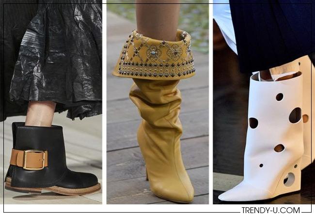 Обувь с широким голенищем из коллекций Alexander McQueen, Etro и Off-White