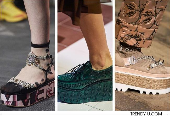 Обувь на платформе весна-лето 2020 из коллекций Giambattista Valli, Prada и Simone Rocha