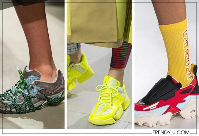 Яркие кроссовки из коллекций Rokh, Junya Watanabe и Pyer Moss
