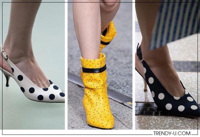 Модные ботильоны и туфли с открытой пяткой в горошек из коллекций Tory Burch и Coach весна-лето 2020