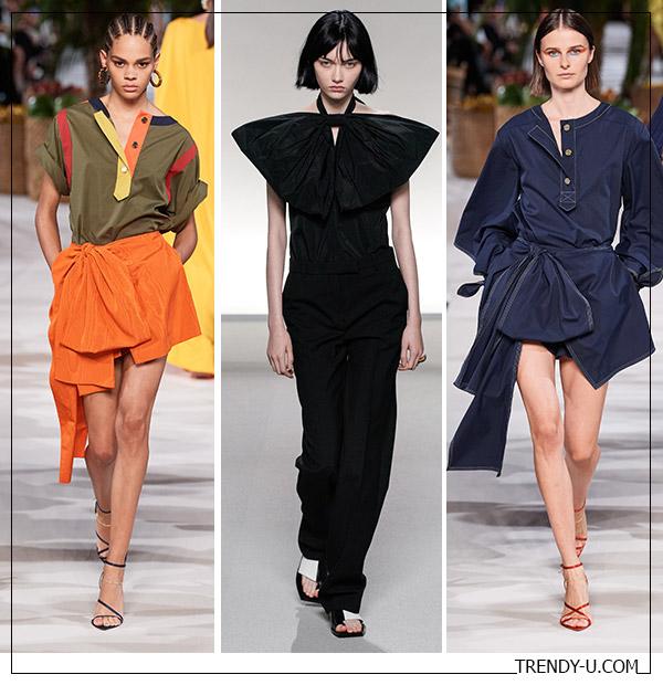Банты на одежде в коллекциях Oscar de la Renta Givanchy (посередине) весна-лето 2020