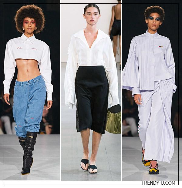 Белые рубашки из коллекций Pyer Moss и Bevza SS 2020