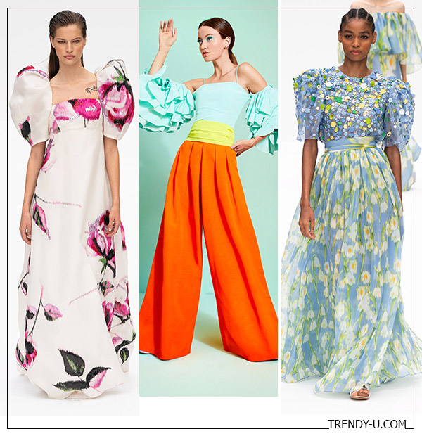 Рукава-фонарики в моде весной и летом 2020: коллекции Carolina Herrera Alice + Olivia (посередине)
