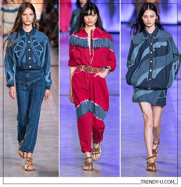 Модная джинсовая одежда в коллекции Alberta Ferrrretti весна-лето 2020