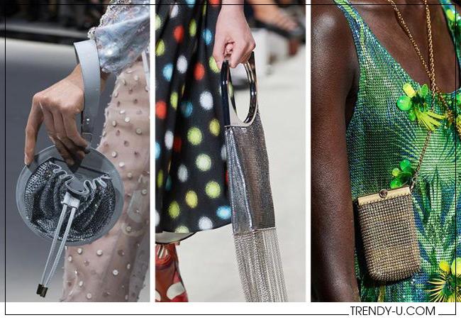 В полном смысле слова блестящие сумки из весенне-летних коллекций Gоgeorgio Armani, Paco Rabanne и Versace