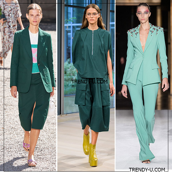 Костюмы оттенков зеленого и изумрудного в коллекциях Kate Spade, Tibi и Christian Siriano SS 2020