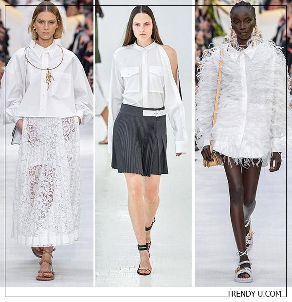 Белые рубашки от Valentino и Helmut Lang SS 2020