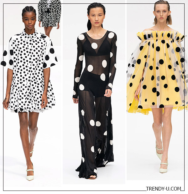Принт Polka dot на платьях в коллекции Carolina Herrera SS 2020