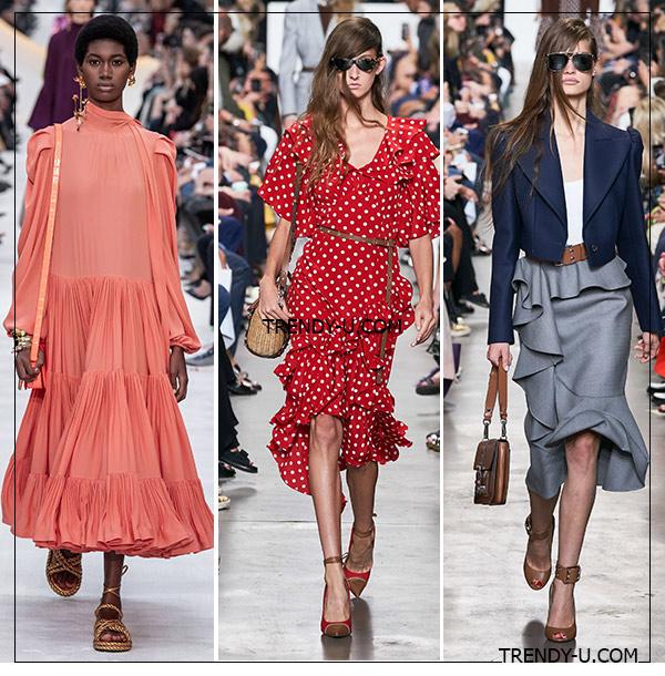 Оборки на платьях и юбках в коллекциях Valentino и Michael Kors 2020