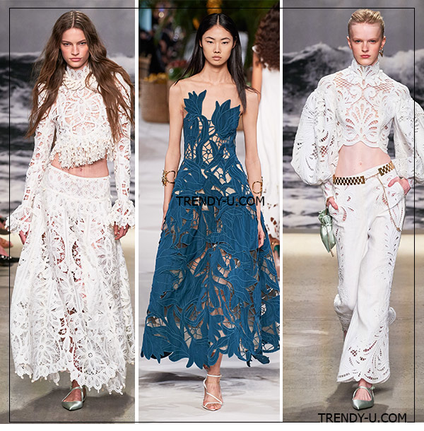 Модные кружевные платья из коллекций Zimmermann и Oscar de la Renta (посередине) для лета 2020