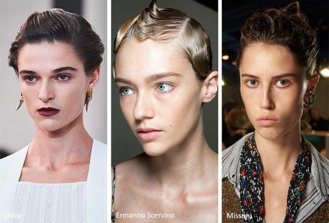 Модная укладка волос гелем. Chloe, Ermanno Scervino, Missoni