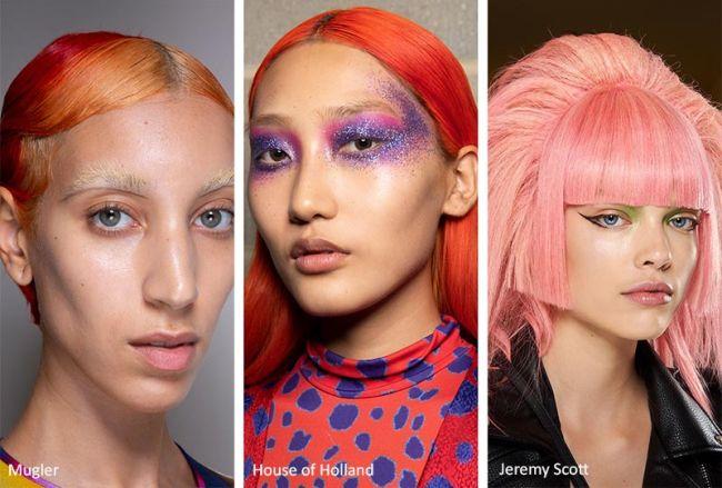 Неоновые волосы весна-лето 2020: Mugler, House of Holland, Jeremy Scott