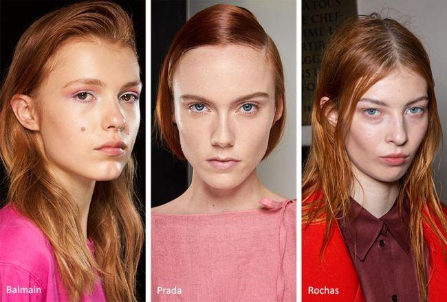 Модные прически весна 2020 - рыжий цвет волос. Balmain, Prada, Rochas
