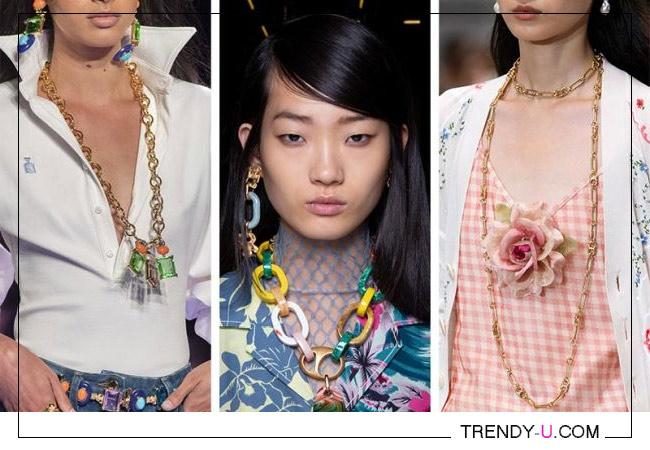 Модное украшение - цепь на шею. Коллекции Tory Burch, Ports 1961, Brandon Maxwell 2020