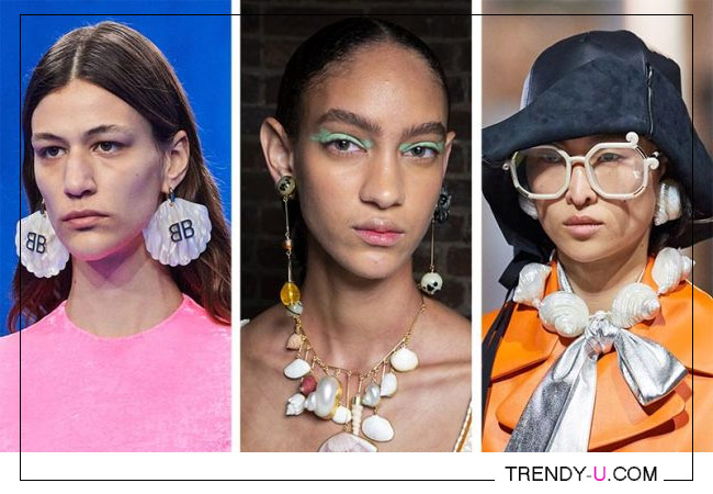 Модные серьги и колье с ракушками Balenciaga, Ulla Johnson, Prada 2020