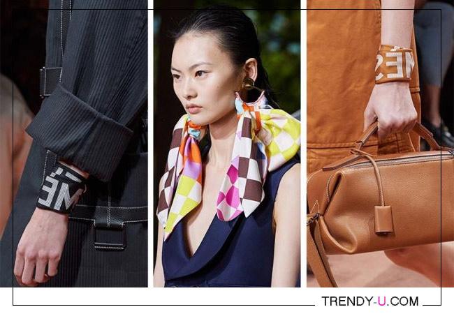 Платок в качестве модного аксессуара в коллекциях Hermes и Lanvin весна-лето 2020