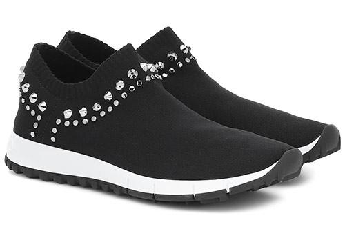 Кроссовки-носки от Jimmy Choo украшенные камнями 2020 женские