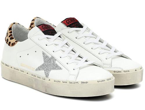 Белые кожаные кроссовки Golden Goose с серебряными звездами