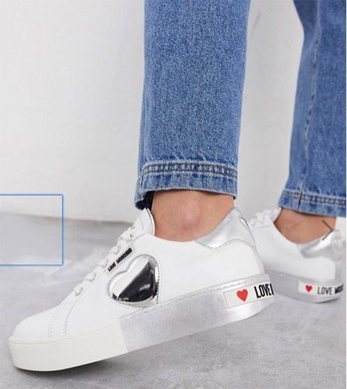 Белые кожаные кроссовки Moschino Love 2020