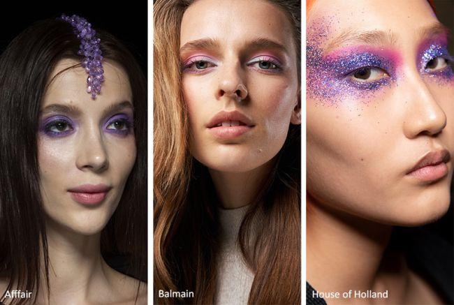 Макияж в лиловых оттенках - тренд весна-лето 2020. Afffair, Balmain, House ofHolland
