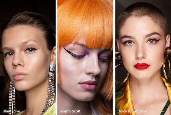 Модный макияж 2020 со стрелками. Blumarine, Jeremy Scott, Dolce&Gabbana