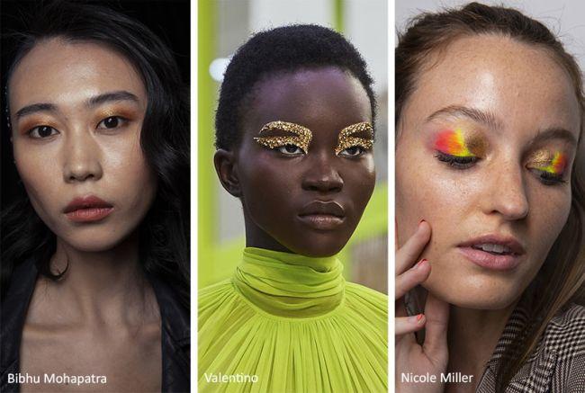 Модный макияж 2020 с золотыми тенями