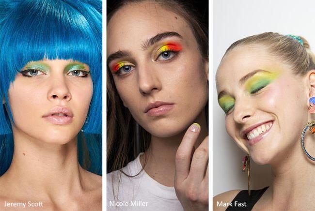 Яркий макияж с неоновыми тенями. Коллекция весна-лето 2020 Jeremy Scott, Nicole Miller, Mark Fast