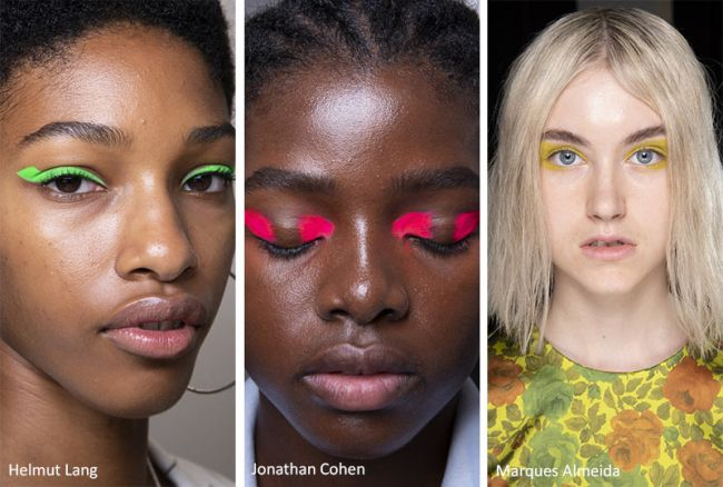 Какой макияж будет в моде весной 2020 - неоновые веки. Helmut Lang, Jonathan Cohen, Marques'Almeida