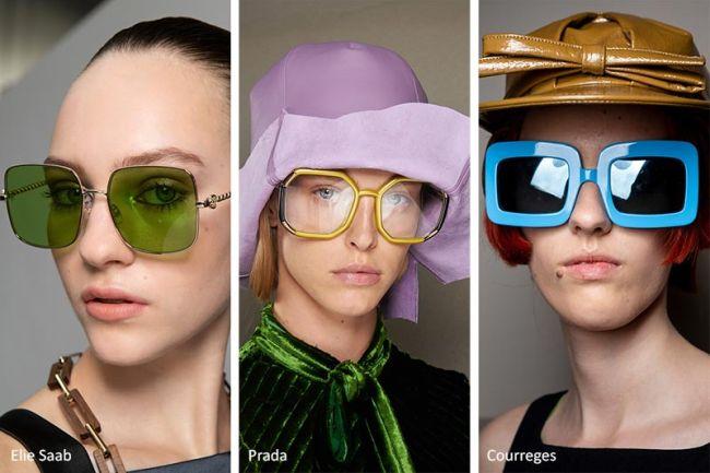 Солнцезащитные очки квадратной формы. Eline Saab, Prada, Courreges