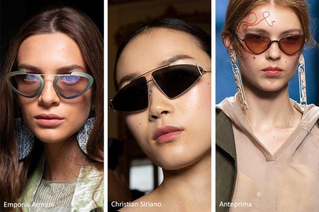 Солнцезащитные очки треугольной формы. Коллекция весна-лето 2020 Emporio Armani, Christian Sariano, Anteprima