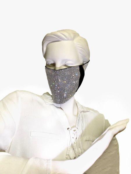 Черная широкая защитная маска со стразами