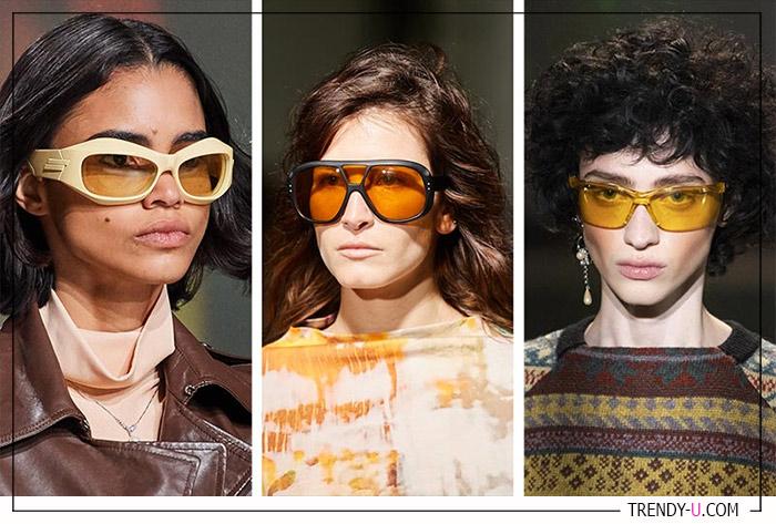 Желтые и оранжевые солнечные очки для сезона осень-зима 2020-2021 в коллекциях Bottega Veneta, Marques-Almeida и Marine Serre